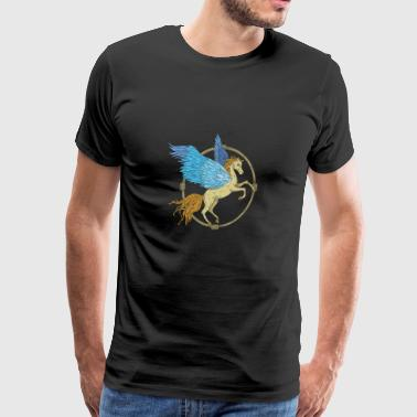 Pegasus with blue wings in a wooden frame - Men's Premium T-Shirt