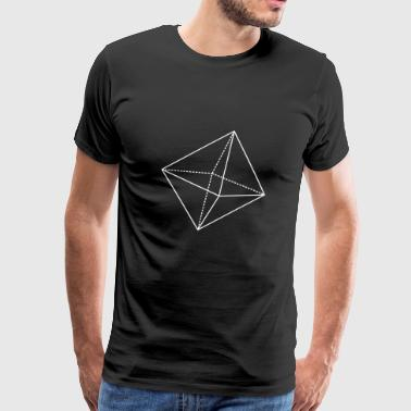 Octahedron Geometry Present Art Design White - Men's Premium T-Shirt
