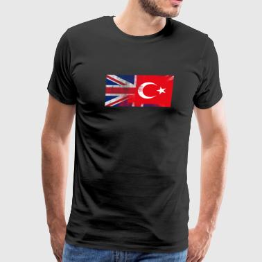 British Turkish Half Turkey Half UK Flag - Men's Premium T-Shirt