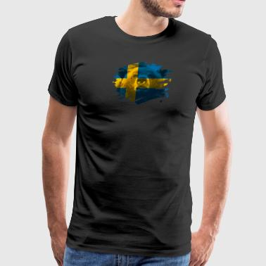 Swedish Sweden Flag & Bear - Swedish Pride Design - Men's Premium T-Shirt