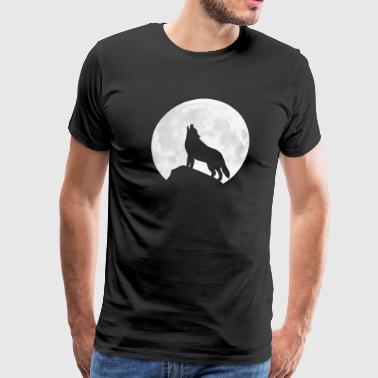 Howling Wolf - Moon - Men's Premium T-Shirt