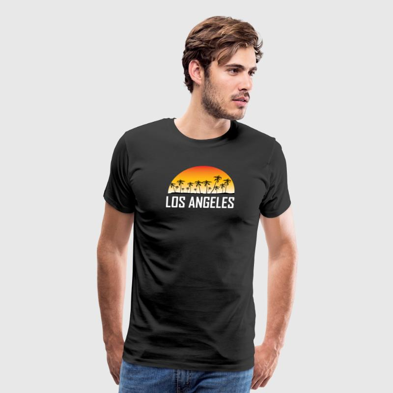 Los Angeles Sunset And Palm Trees Beach - Men's Premium T-Shirt