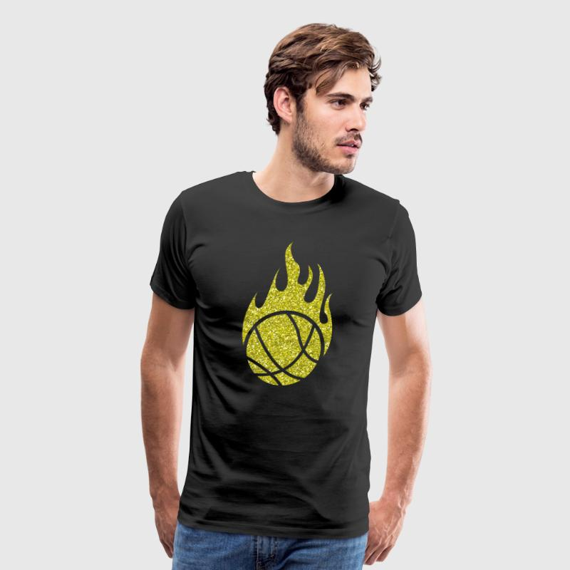 Golden Basketball burning Ball Heat Flames Glitter - Men's Premium T-Shirt