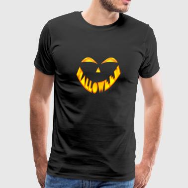 Jack O' Lantern Pumpkin Face Halloween Costume - Men's Premium T-Shirt