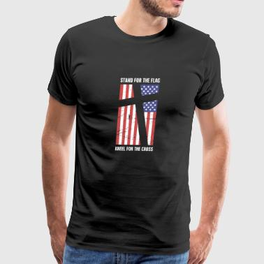 Stand For The Flag, Kneel For The Cross - Men's Premium T-Shirt