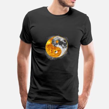 Glow In The Dark Moon Yin And Yang Sun Moon Light & Dark Balance Graphic - Men's Premium T-Shirt