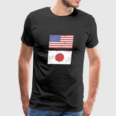 United States Flag & Japan Flag - Men's Premium T-Shirt