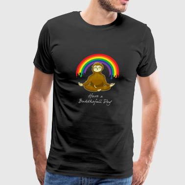 Sloth Animal Yoga Buddha Rainbow namaste om - Men's Premium T-Shirt