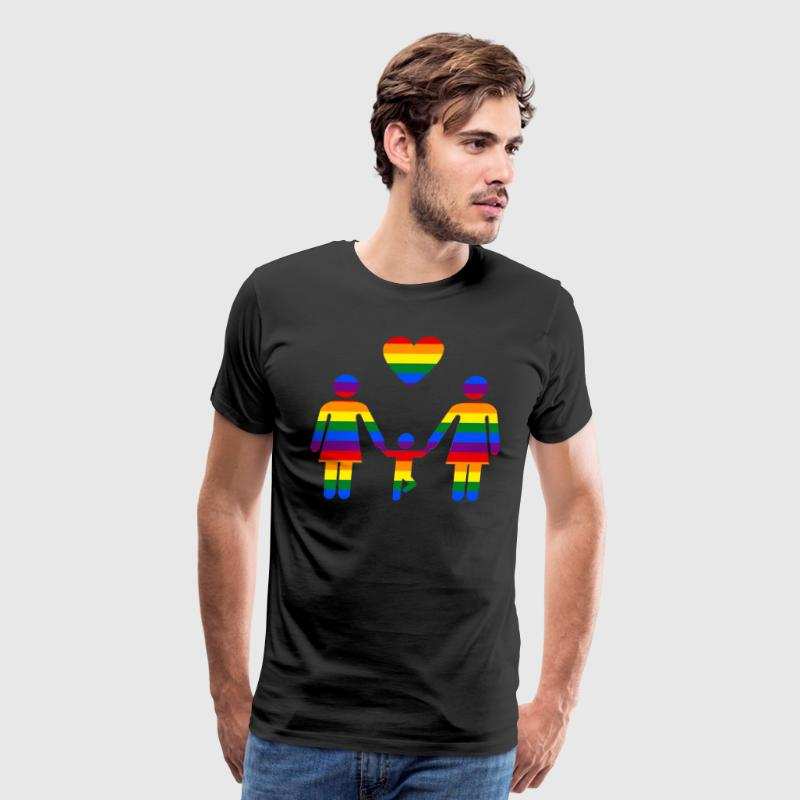 Rainbow Family lesbian family from Bent Sentiments - Men's Premium T-Shirt