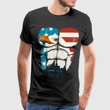 American Flag Eagle Hulk Muscles - Men's Premium T-Shirt
