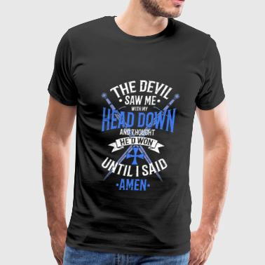 The Devil Saw Me With My Head Down White/Blue - Men's Premium T-Shirt
