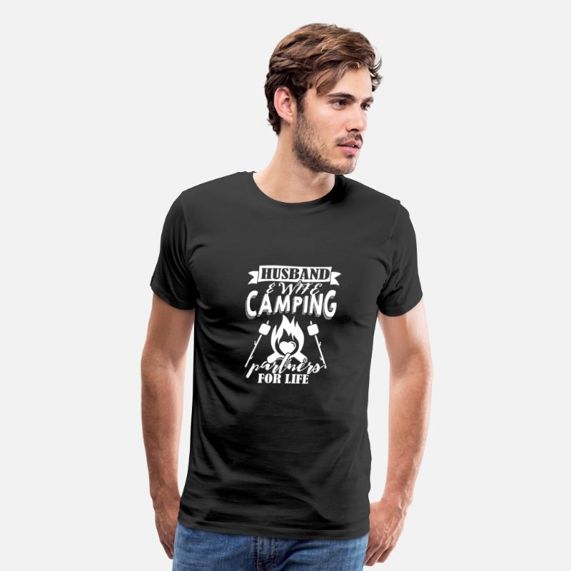 Husband T-Shirts - Husband And Wife Camping Partners For Life T Shirt - Men's Premium T-Shirt black