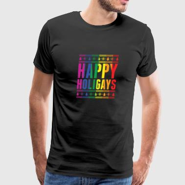 Happy Holidays Happy Holigays Funny Christmas Gay Holiday Pride - Men's Premium T-Shirt