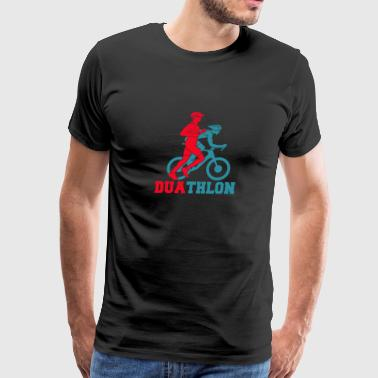 duathlon race bike jog gift idea - Men's Premium T-Shirt