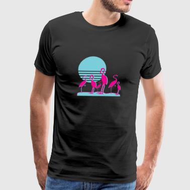 Flamingos Aesthetic Vaporwave Retro 1980s Sunset - Men's Premium T-Shirt