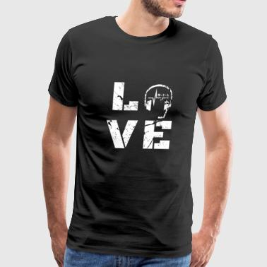 911 Emergency Dispatchers Thin Yellow Line Love Headset - Men's Premium T-Shirt