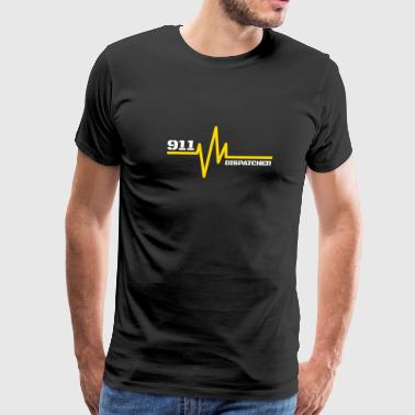 911 Emergency Dispatchers Thin Yellow Line Heartbeat - Men's Premium T-Shirt