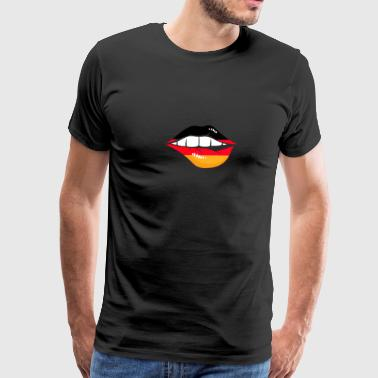Sexy Lip kiss mouth Germany flag banner gift idea - Men's Premium T-Shirt