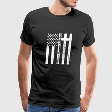 Usa Flag Cross - Men's Premium T-Shirt