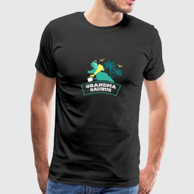 Granny And Grandkids Grandma saurus dinosaur on beach - Men's Premium T-Shirt