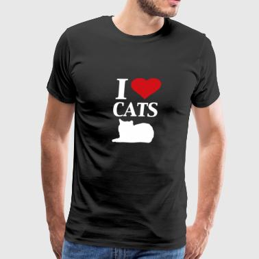 I heart Cats graphic heart love design - Men's Premium T-Shirt