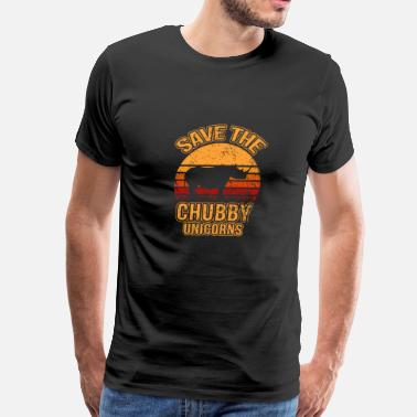 Save Save The Chubby Unicorns, Rhino, Gift, Retro - Men's Premium T-Shirt