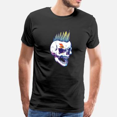 Hair Design punkey skull hair cut design  - Men's Premium T-Shirt