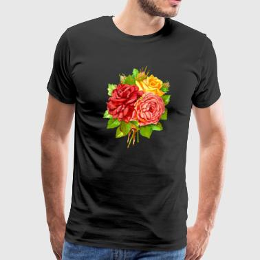 flower T-shirt with red and yellow roses - Men's Premium T-Shirt