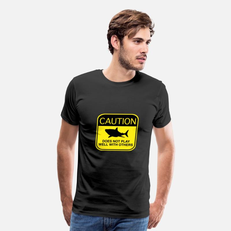 Caution T-Shirts - Caution - Does Not Play Well With Others - Men's Premium T-Shirt black