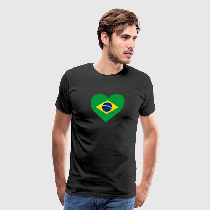Brazil Flag Shirt Heart - Brazilian Shirt - Men's Premium T-Shirt