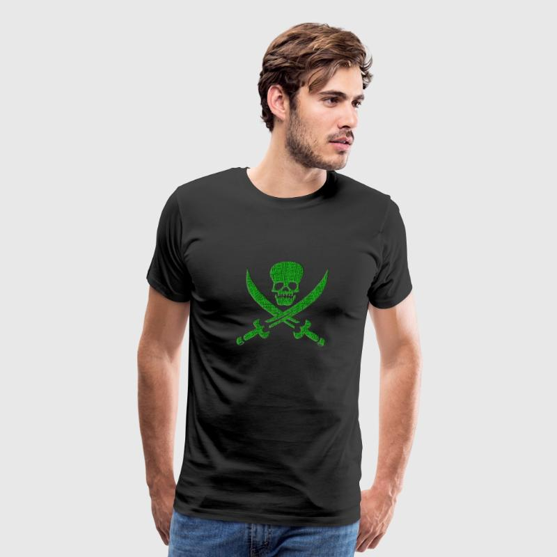 Digital Skull Hacker Pirate Computer Hooligan Net - Men's Premium T-Shirt