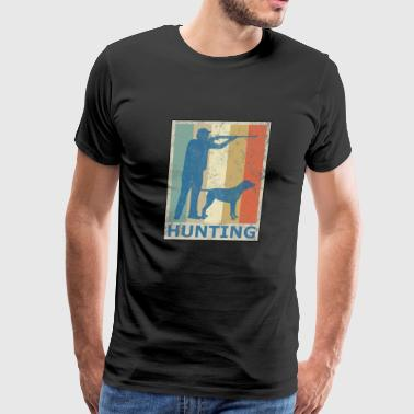 Retro Vintage Style Hunting Hunter Hunt Dog - Men's Premium T-Shirt