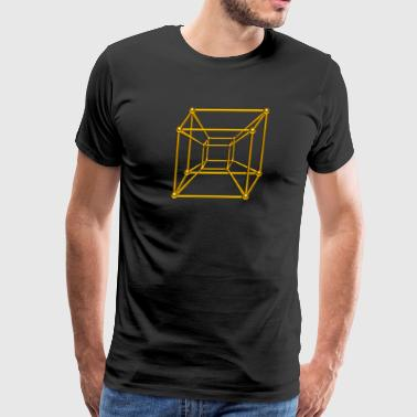 TESSERACT, Hypercube 4D, gold, Symbol - Dimensional Shift, Metatrons Cube, - Men's Premium T-Shirt