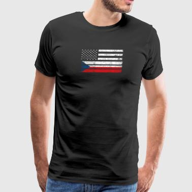 Czech American Czech American Flag - USA Czech Republic Shirt - Men's Premium T-Shirt