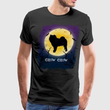 Chow Chow Dog Halloween Vintage Design Full Moon - Men's Premium T-Shirt