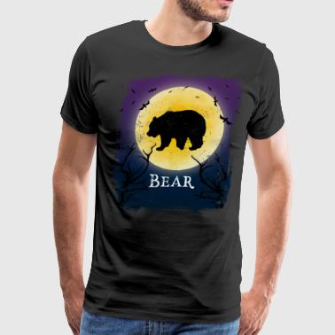Bear Halloween Vintage Design Full Moon - Men's Premium T-Shirt