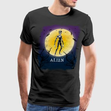 Alien Halloween Vintage Art Alien Sci fi Fan - Men's Premium T-Shirt