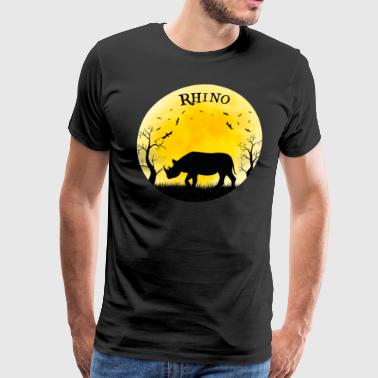 Rhino Halloween Vintage Retro Moon - Men's Premium T-Shirt