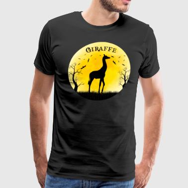 Bat Design Halloween Giraffe Halloween Vintage Retro Moon - Men's Premium T-Shirt