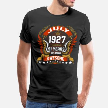 91 Anniversary Jul 1927 91 Years Awesome - Men's Premium T-Shirt