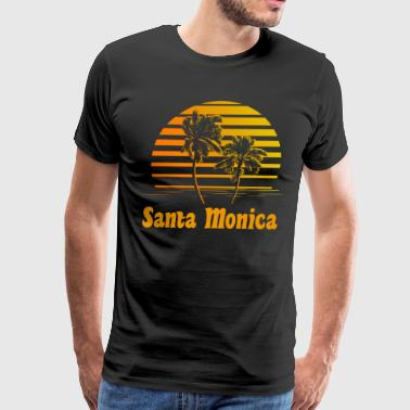 Santa Monica California Sunset Palm Trees - Men's Premium T-Shirt