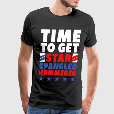 Star spangled hammered beer july 4th of july gift - Men's Premium T-Shirt
