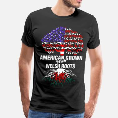 Welsh American Grown With Welsh Roots - Men's Premium T-Shirt