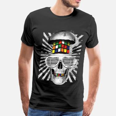 Cool Rubik's Cube Skull With Sunglasses - Men's Premium T-Shirt