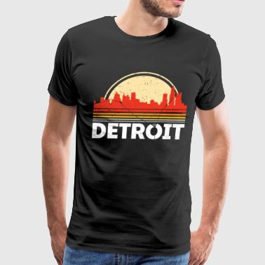 Detroit City Classic Retro Detroit City Skyline Vintage Shirt - Men's Premium T-Shirt