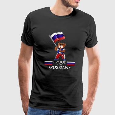 Proud to be Russian Bear, russian flag, gift,pride - Men's Premium T-Shirt