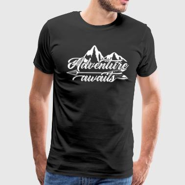Adventure Awaits Shirt RV Camping Outdoor Travel Design for RV Vacationers Gift for Road Trips - Men's Premium T-Shirt