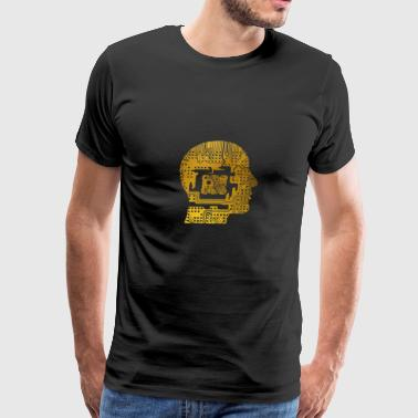 Computer Chip Circuit Man head with chip - Men's Premium T-Shirt