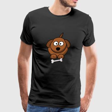 Little, funny dog with bone - Men's Premium T-Shirt
