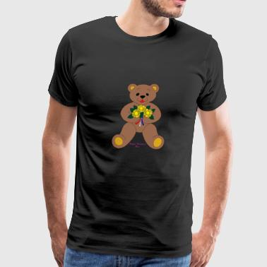 Bear with flowers Valentine's Day - Men's Premium T-Shirt